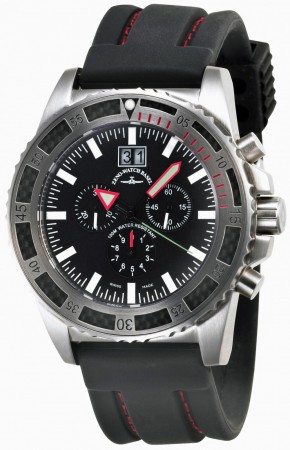 Zeno-Watch Basel Professional diver Automatic Chrono Big Date black+red 46 mm 6478-5040Q-a1-7