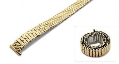 Watch strap Fixoflex S expansion strap 14mm stainless steel golden partly polished by ROWI