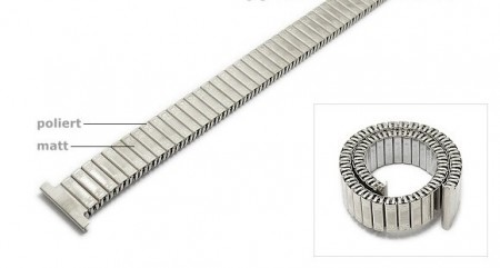 Watch strap Fixoflex expansion strap 14mm stainless steel silver extravagant ROWI