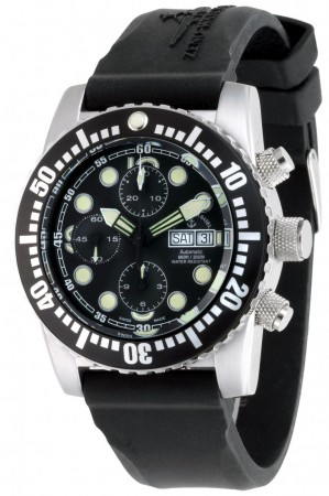 Zeno-Watch Basel Airplane diver 45 mm Automatic Chronograph Points, black 6349TVDD-3-a1