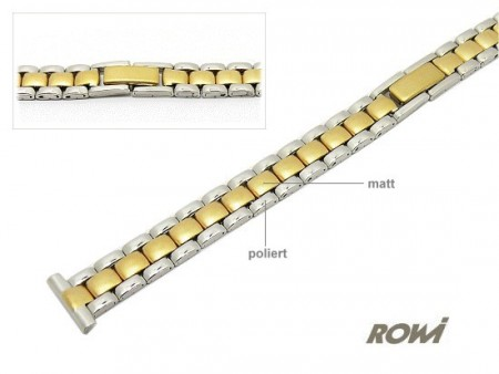 Watch strap 12mm stainless steel dual tone partly polished elegant by ROWI
