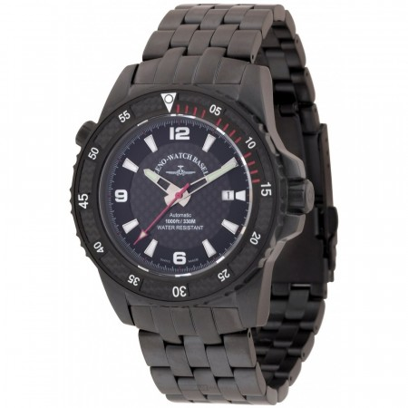 Zeno-Watch Basel Professional diver Automatic Blacky, red 46 mm 6478-bk-s1-7M