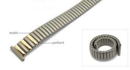 Watch strap Fixoflex S expansion strap 16mm titanium dual tone partly polished by ROWI