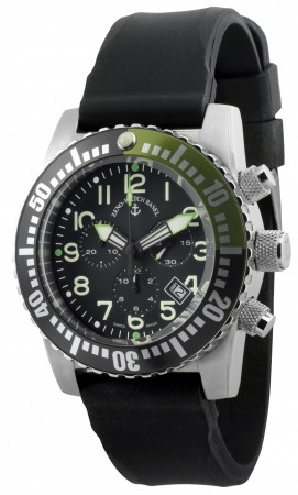Zeno-Watch Basel Airplane diver 45 mm Quartz Chronograph Numbers, black/green6349Q-Chrono-a1-8