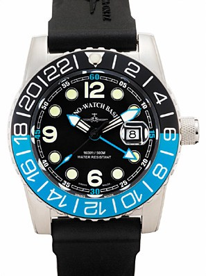 Zeno-Watch Basel Airplane diver 45 mm Quartz GMT Points (Dual Time), black/blue 6349Q-GMT-a1-4