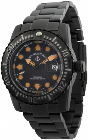 Zeno-Watch Basel Airplane diver 45 mm Automatic Points, blacky 6349-3-bk-a15M