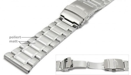 Watch strap 24mm stainless steel solid partly polished by ROWI