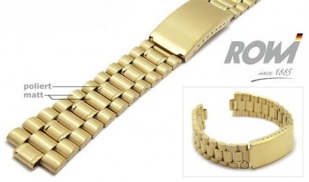 Watch band stainless steel golden 20-22mm multiple ends curved/straight sporty deployant clasp