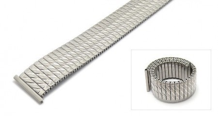 Watch strap Fixoflex S expansion strap 20mm stainless steel silver partly polished by ROWI