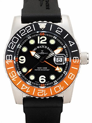 Zeno-Watch Basel Quartz GMT Points (Dual Time), black/orange 6349Q-GMT-a1-5