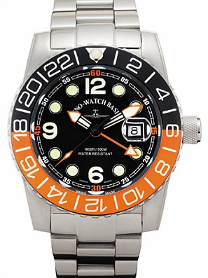 Zeno-Watch Basel Airplane diver 45 mm Quartz GMT Points (Dual Time), black/orange 6349Q-GMT-a1-5M