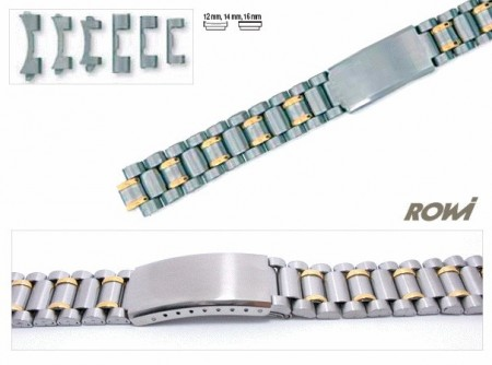 Watch band stainless steel dual tone 12-16mm multiple ends curved/straight sporty deployant clasp