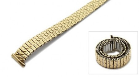 Watch strap Fixoflex S expansion strap 16mm stainless steel golden partly polished by ROWI