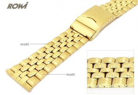 Watch band 22mm stainless steel golden ROWI partly polished sporty elegant design