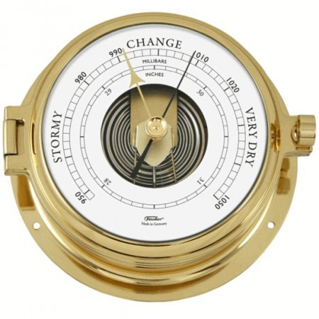 Fischer Skipsbarometer Messing. Ø: 160mm/120mm.
