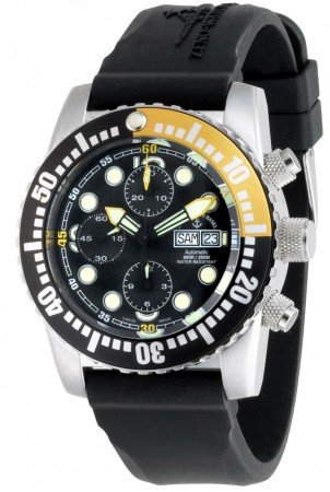 Zeno-Watch Basel Airplane diver 45 mm Automatic Chronograph Numbers, black/yellow 6349TVDD-3-a1-9