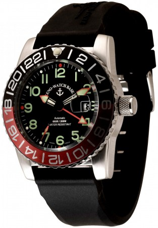 Zeno-Watch Basel Airplane diver 45 mm Automatic GMT Numbers (Dual Time), black/green 6349GMT-12-a1-7